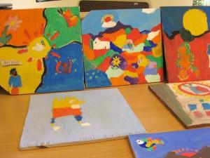 Bilderna som eleverna har gjort tillsammans med Christian från El Salvador.